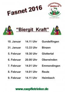 Zäpfletrinker_Tourplan Fasnet 2016